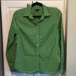 Talbots Green Dog Print Button Up Shirt Size 8